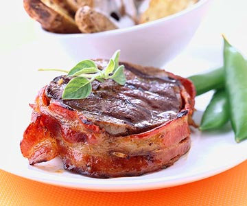 Bacon-Wrapped Bison Ribeyes