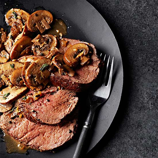 Pan-Roasted Beef Tenderloin with Mushrooms