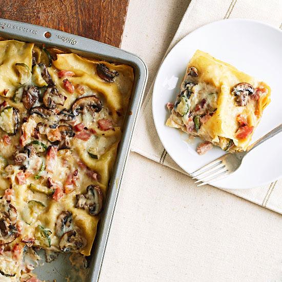 Ham and Mushroom Lasagna