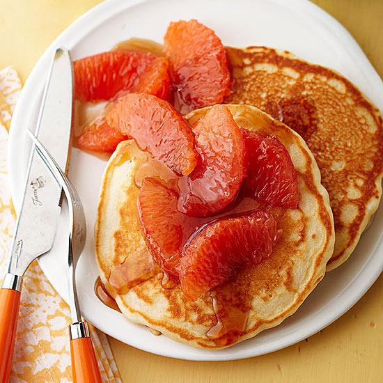 Hint-of-Orange Pancakes with Grapefruit Syrup