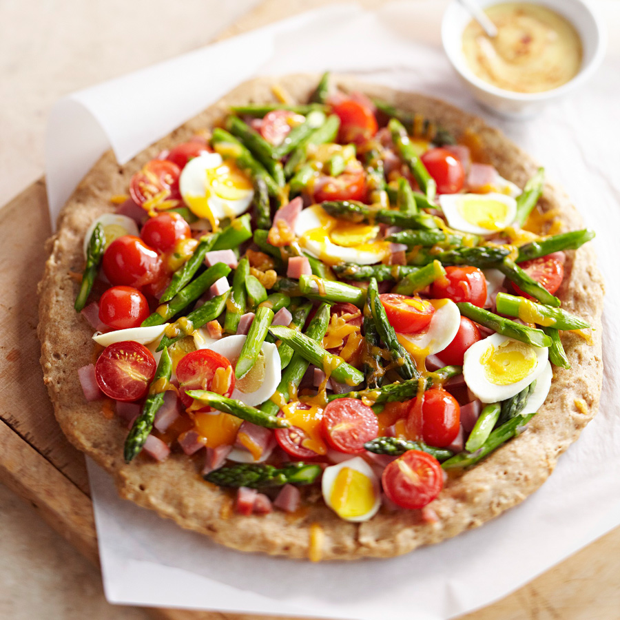 Spring Breakfast Pizza with Spiced Hollandaise