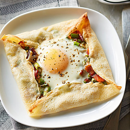 Crepe-Framed Eggs with Asparagus Hash