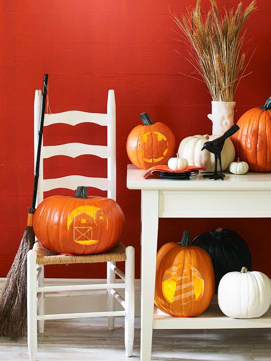 Midwest-theme stencil pumpkins