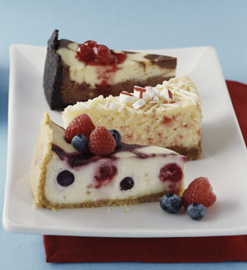 Three creamy cheesecakes