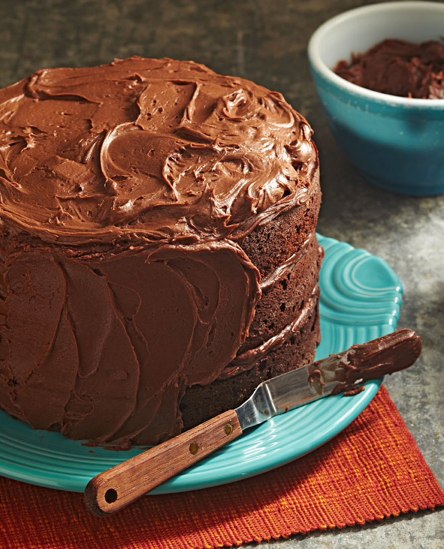 Three-Tiered Fudgy Chocolate Cake
