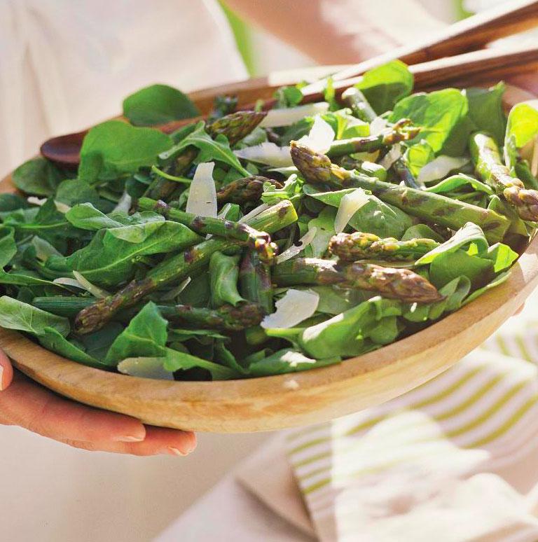 Grilled Asparagus & Arugula Salad with Shaved Parmesan