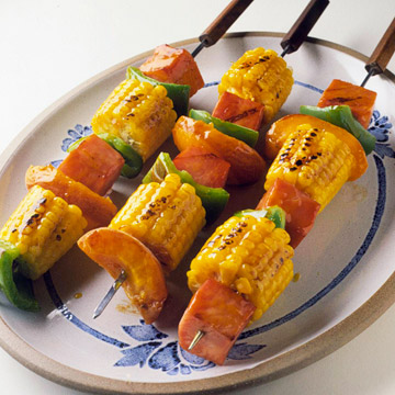 Grilled Ham and Corn Kabobs