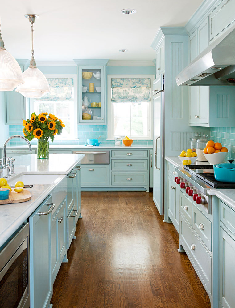 Serene blue kitchen
