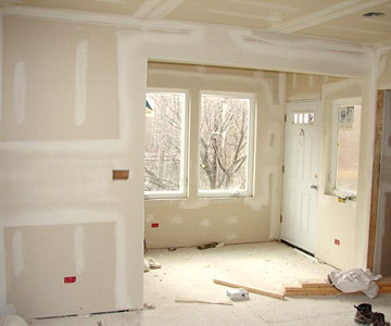 Sunroom with drywall