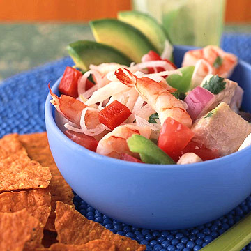 Shrimp and Tilapia Ceviche with Green and Red Peppers