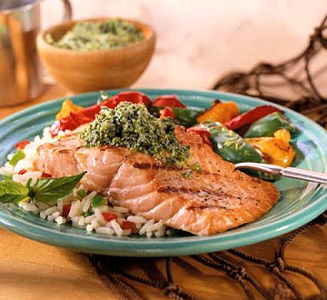 Grilled Salmon with Pistachio-Basil Butter