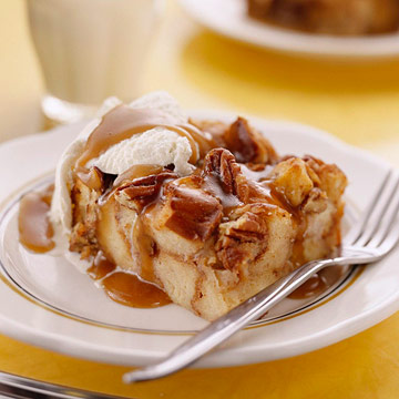 Bread Pudding with Maple-Banana Sauce