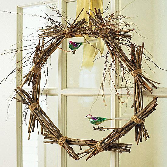 Bundled twig wreath