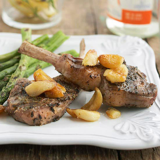 Lamb Chops with Garlic and Lavender