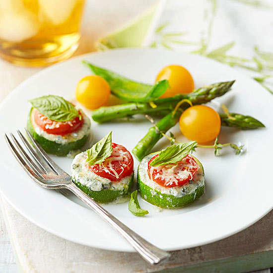 Zucchini-Tomato Cups with Blue Cheese