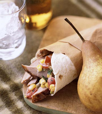 Iowa: Grilled Pork Wraps with Roasted Corn and Tomato Relish