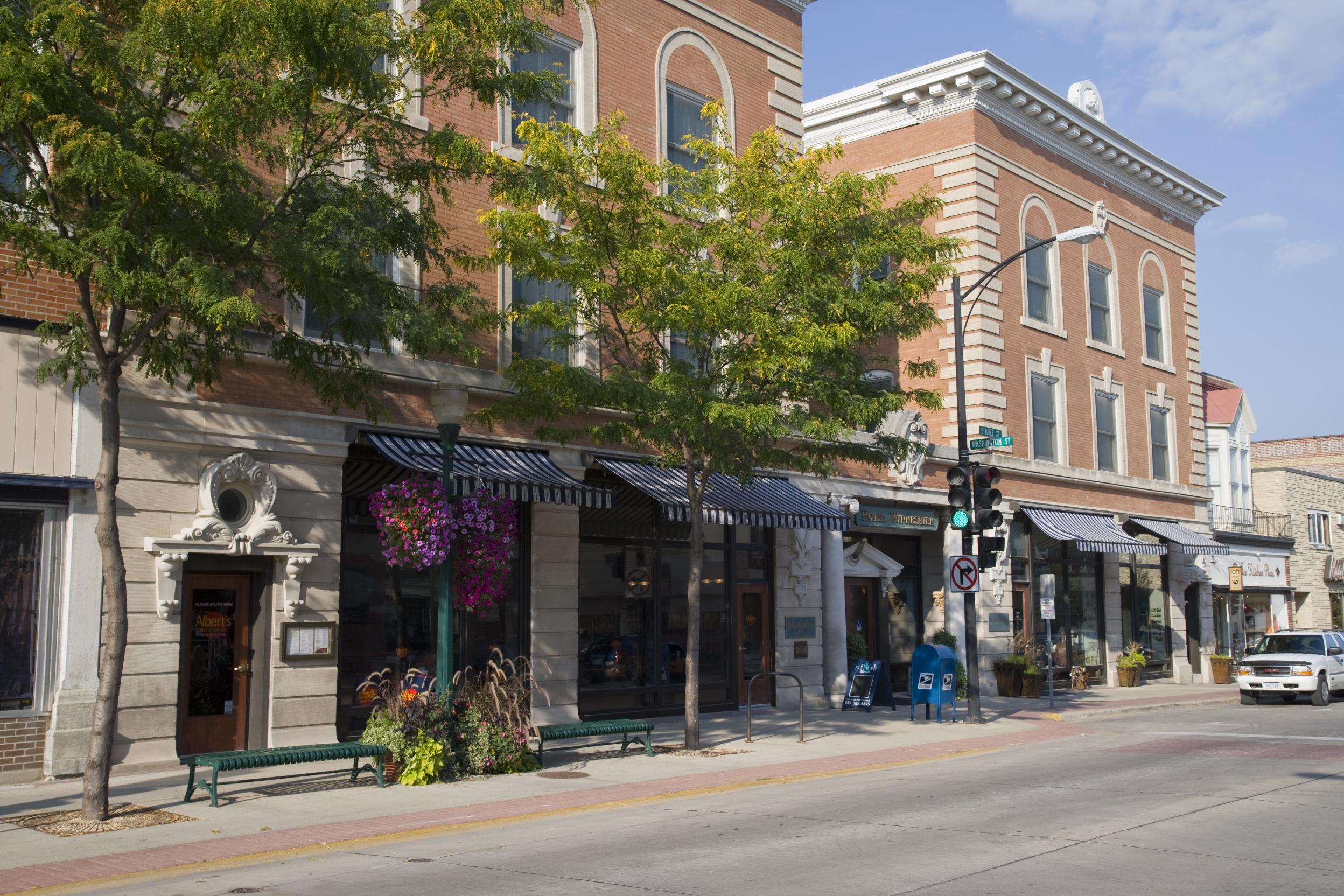 Downtown Decorah boasts local shops hidden under rows of nautical striped awnings.