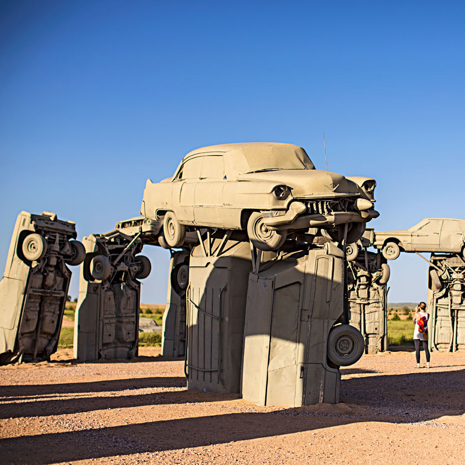 A Stonehenge replica-with cars