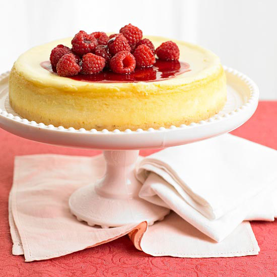 White Chocolate Cheesecake with Triple-Raspberry Sauce