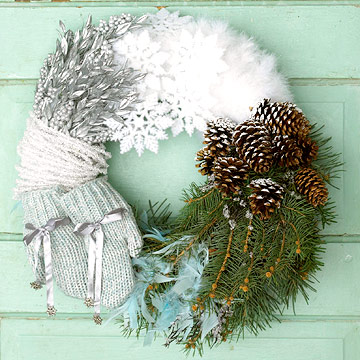 Create a winter colors wreath