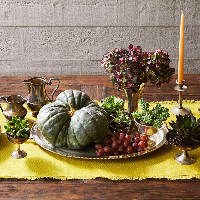 Succulents and silver Thanksgiving centerpiece