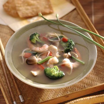 Asian Chicken-and-Shrimp Soup