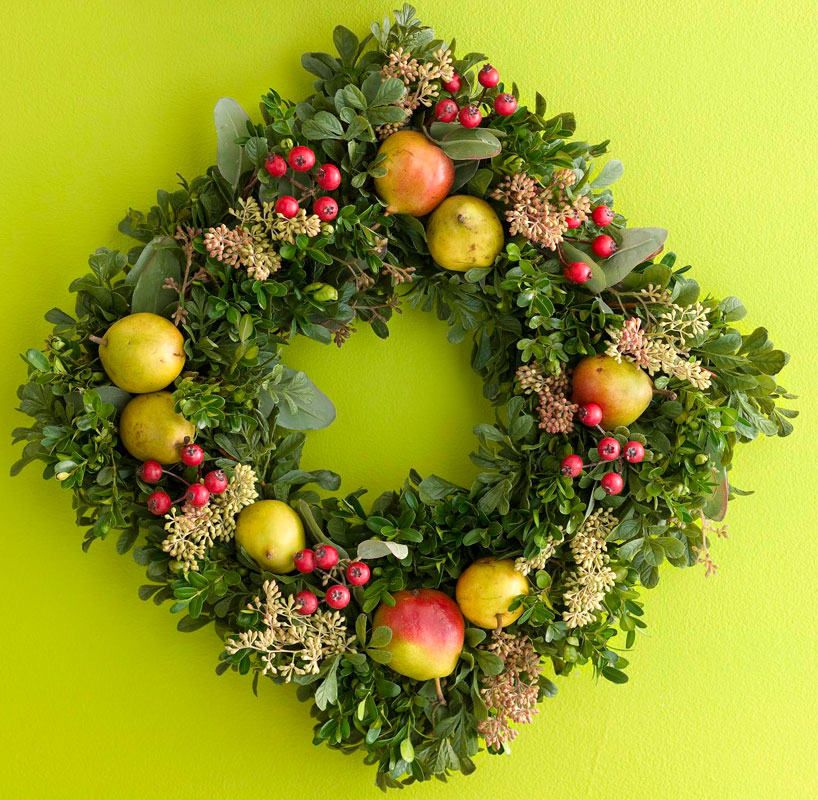 Boxwood, Pear and Berry Wreath