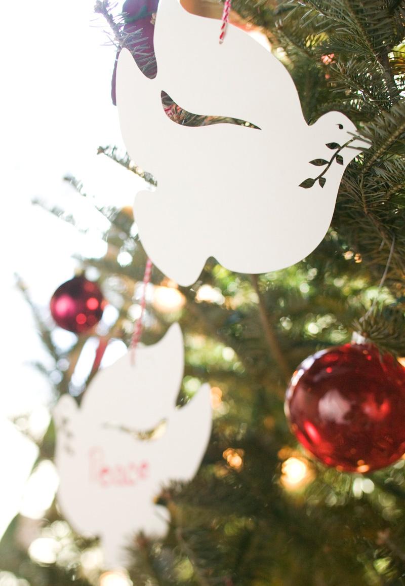 Homemade dove ornaments