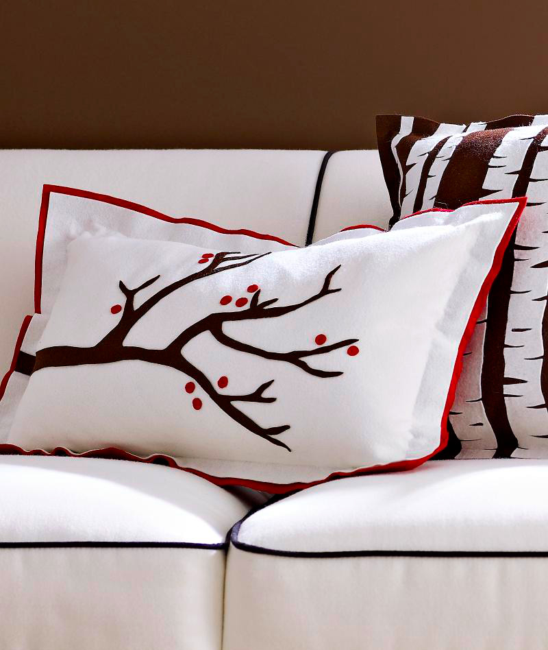 Berry-laden branch pillow