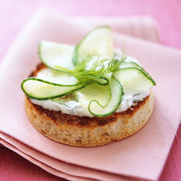 Cucumber and Dill Sour Cream on English Muffins