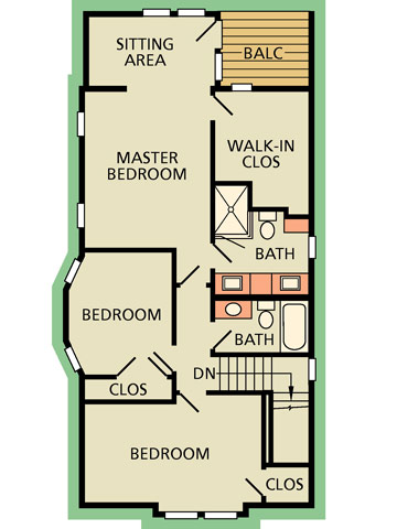 Upper level floor plan--after