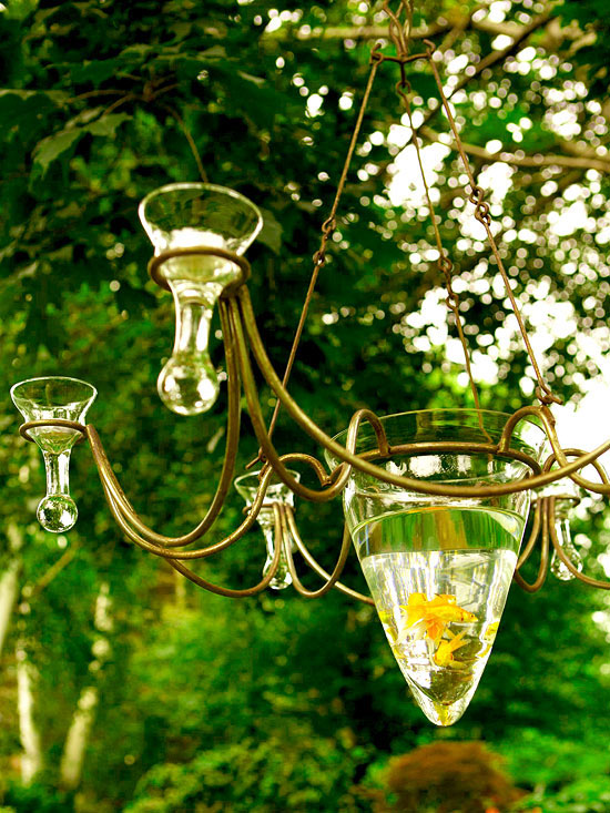Garden tour: Fish bowl chandelier