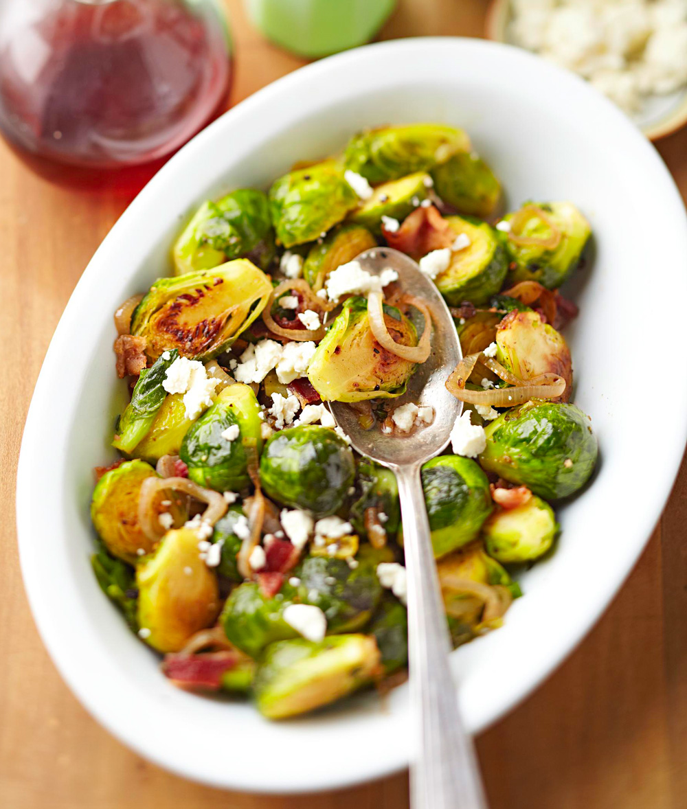 Browned Brussels Sprouts with Bacon and Feta