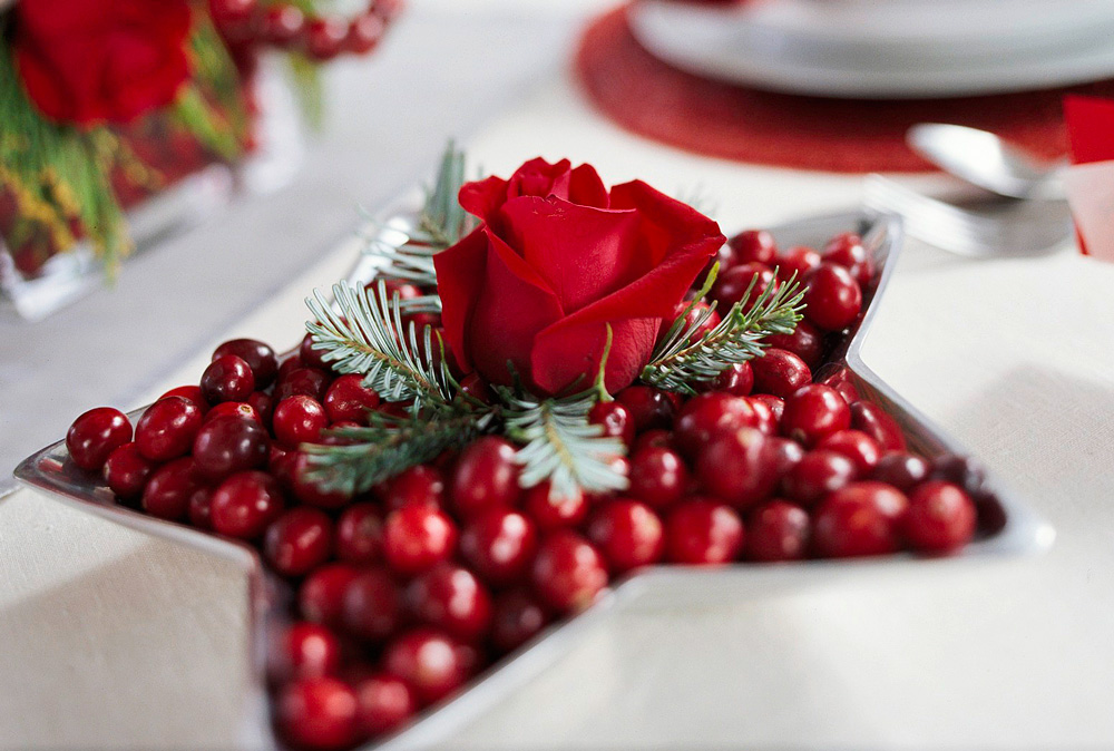 Christmas centerpiece ideas: cranberry bowl