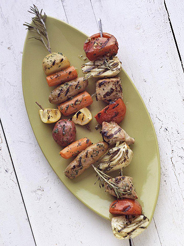 Pesto Rosemary Skewered Baby Potatoes and Carrots