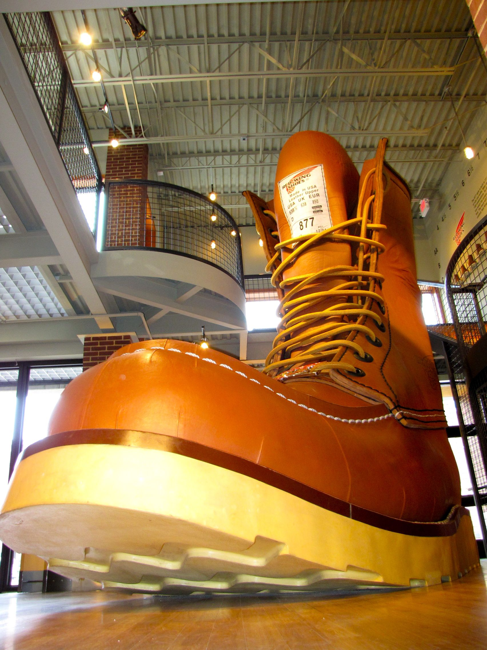 Giant boot at Red Wing Shoe Company Museum and Store. Photo by Lisa Meyers McClintick.