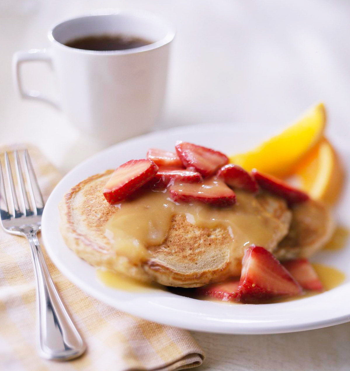 Oatmeal Pancakes with Strawberry-Orange Sauce