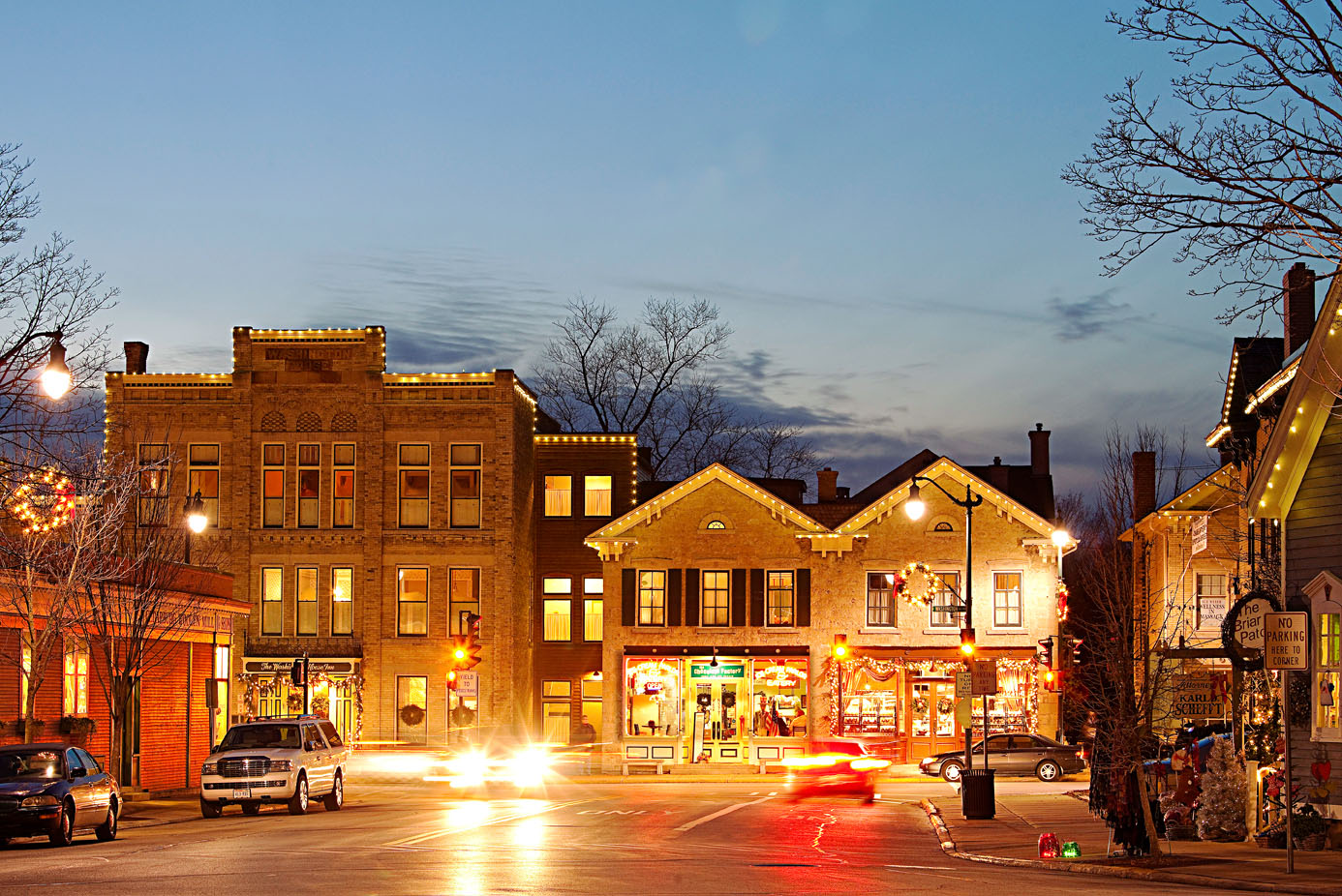 Downtown Cedarburg shines at dusk, when twinkle lights brighten Washington Street's more than 70 specialty stores.
