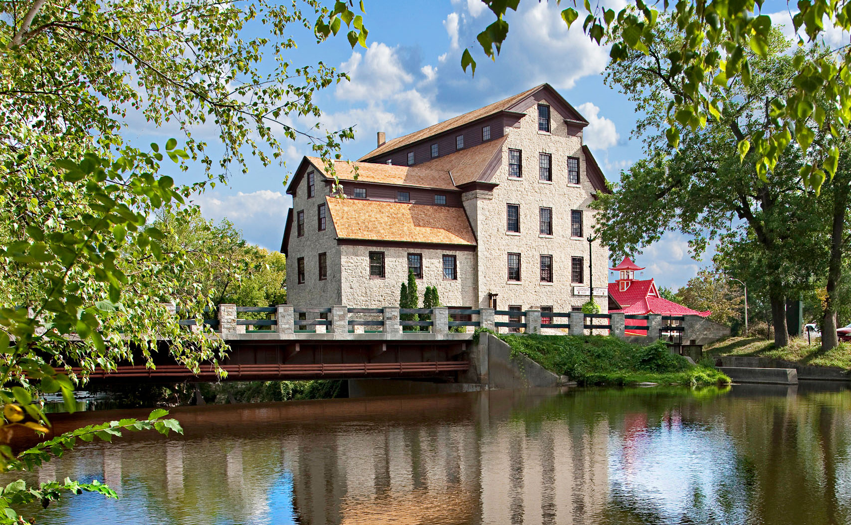 Limestone buildings create a scenic backdrop in Cedarburg.