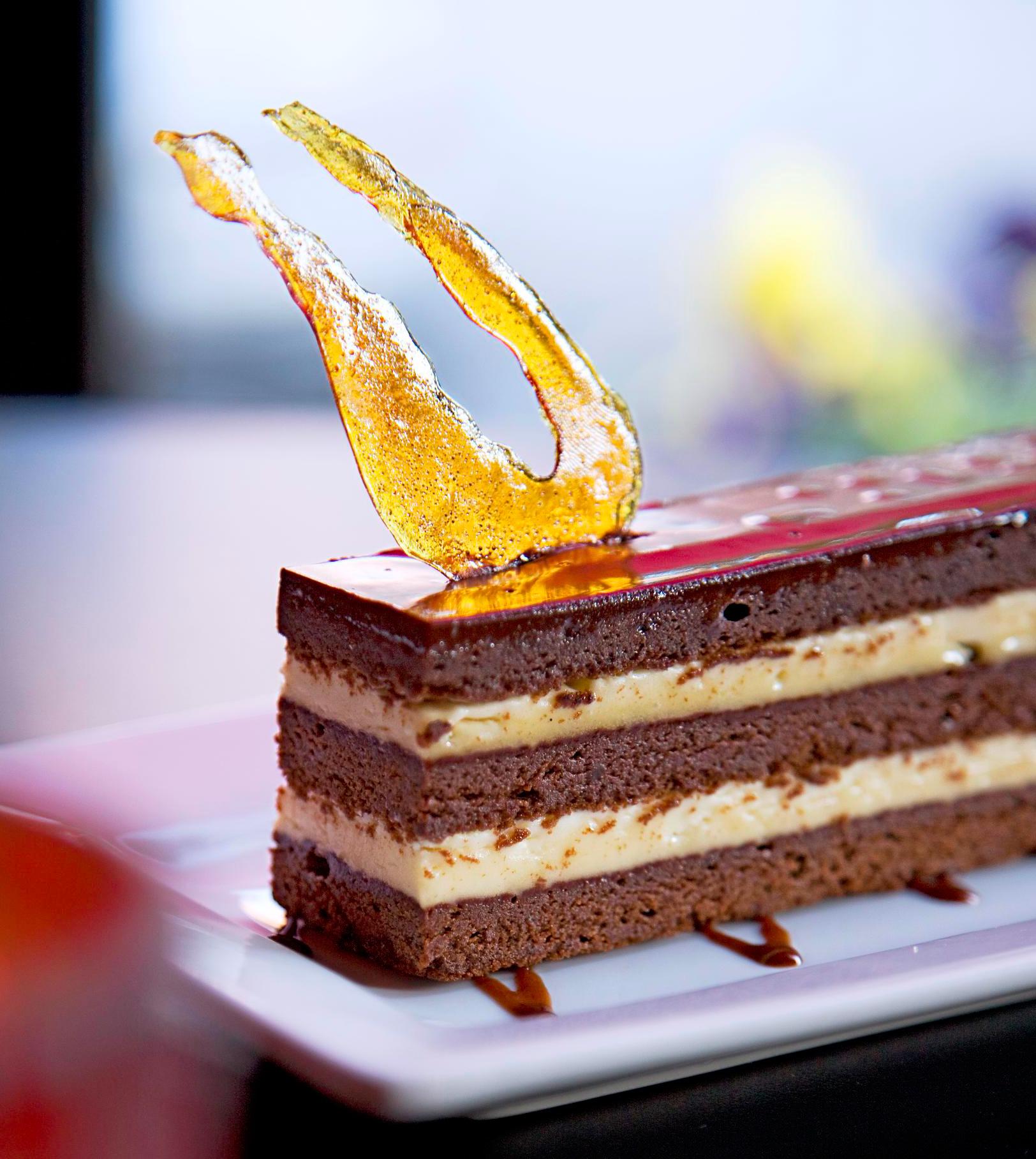 The namesake dessert at Baileys' Chocolate Bar layers cake and boozy buttercream.