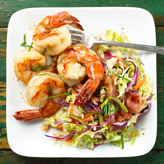Shrimp with Warm Coleslaw