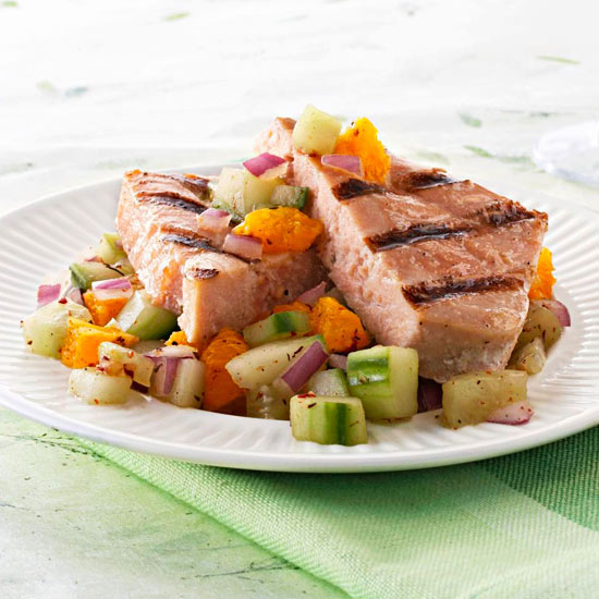 Fish Fillets with Cucumber-Orange Salsa