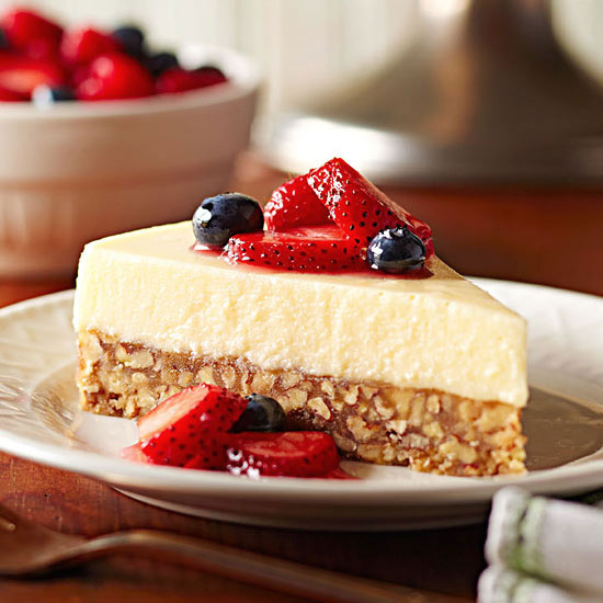 Mascarpone Flan Cake with Marinated Berries