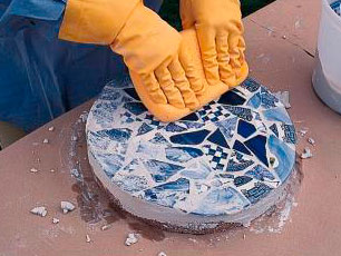 Clean off excess grout.