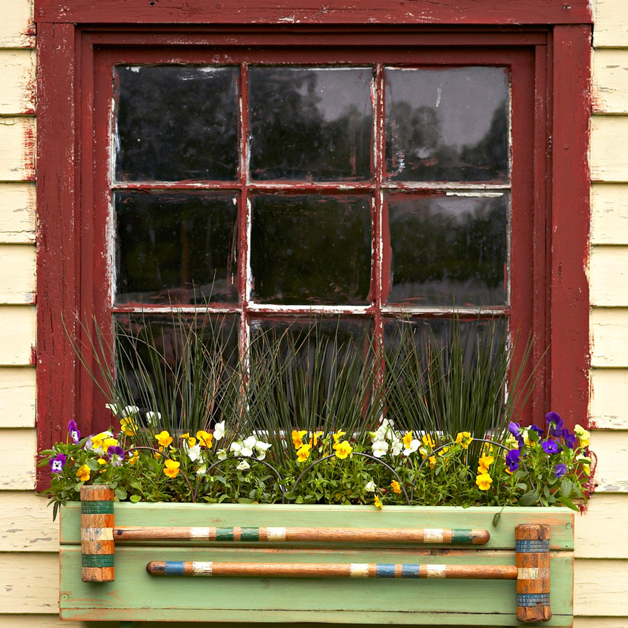 Vintage croquet window box