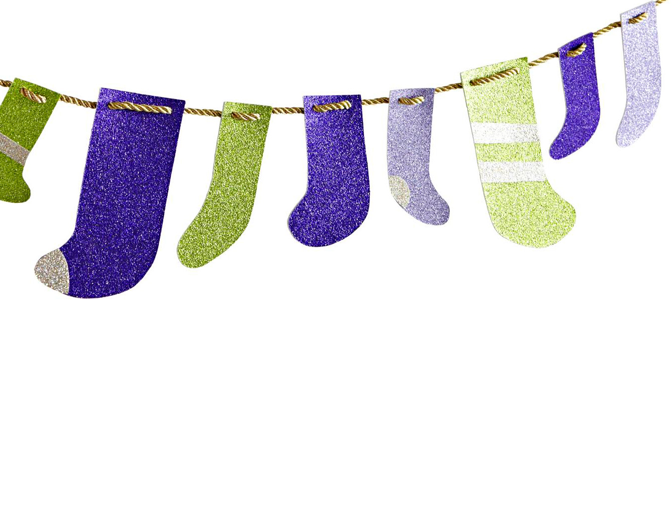 Mini glittery stockings garland