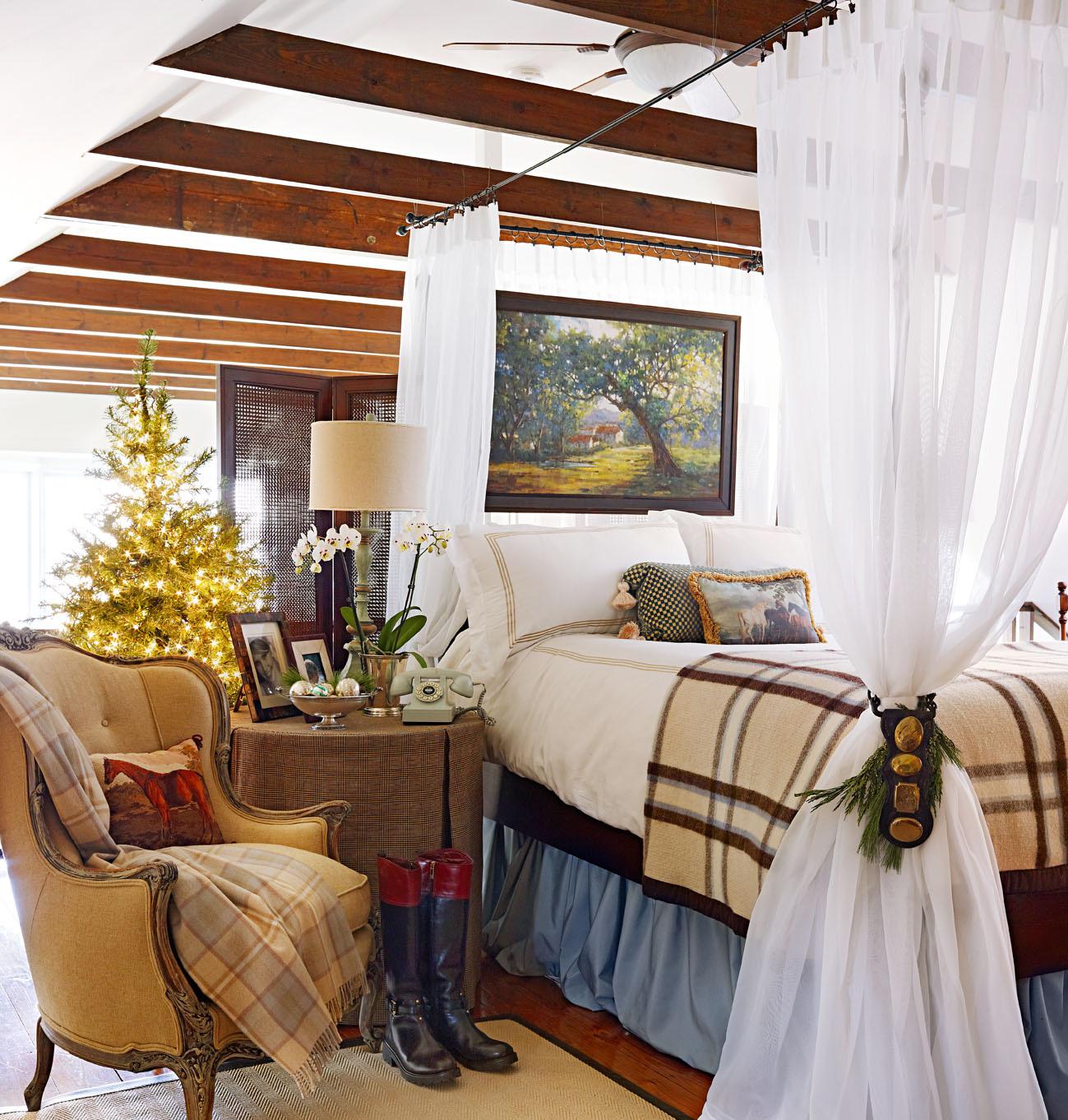 A barn bedroom