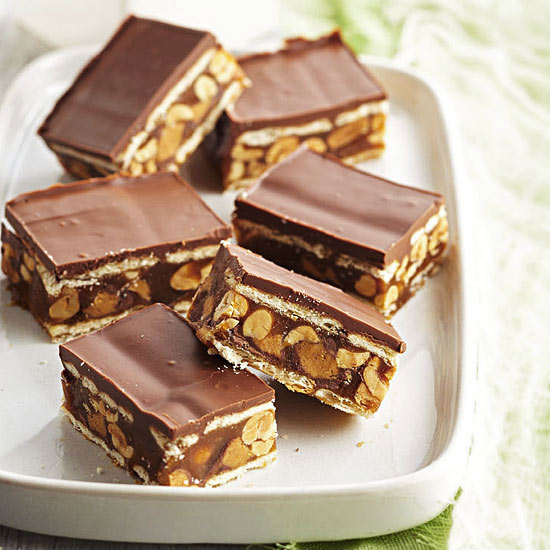 Salted Caramel, Chocolate and Peanut Cracker-Stack Bars