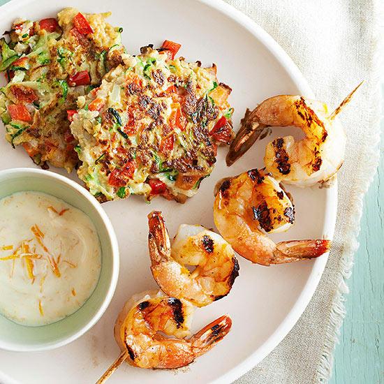 Orange Shrimp with Zucchini Fritters