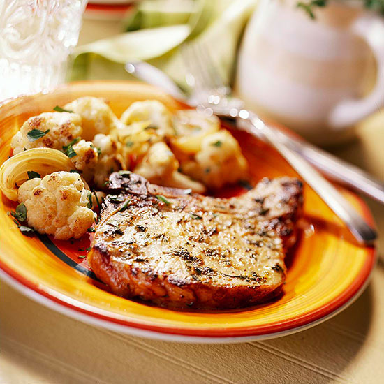 Thyme Pork Chops with Roasted Cauliflower